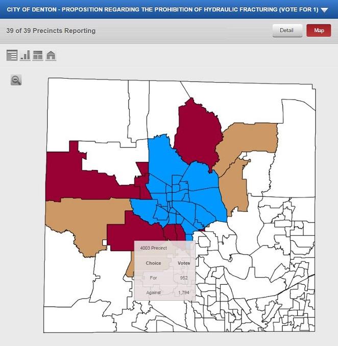 Denton fracking ban precinct map