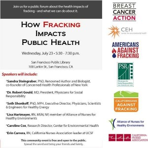 "The Center for Environmental Health joined with partner ""ban-fracking,"" activist organizations in hosting a forum on hydraulic fracturing in San Francisco"