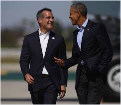 Mayor Garcetti and President Obama. Source: Los Angeles Times